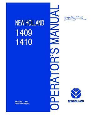 New Holland 1409 1410 Disc Mower Conditioner Operators Manual