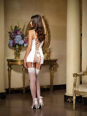 Lace Top Sheer Nylon Strümpfe (Pure White Lace Top Sheer Nylon Stockings Sexy Lingerie P4110)