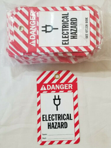 """100 Pack 2 Sided Danger Electrical Hazard Lockout Tag Tags  3.375"""" x 5.875"""""""