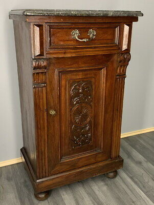Rare Carved French Antique Bedside Table Cupboard Cabinet With Marble Top