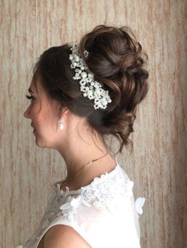 Bridal Hair Accessories Wedding Headpiece Pearl Crystal Flower Headband Tiara W4 Bridal Accessories