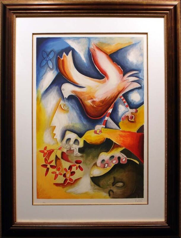"""Alexandra Nechita """"sprinkle The Joy Of Peace"""" Signed Numbered Lithograph, Framed"""