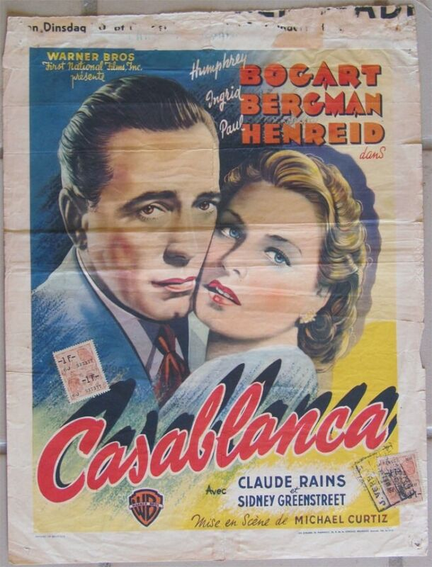Vintage 1947 CASABLANCA Belgian Humphrey Bogart Ingrid Bergman Warner Bros.