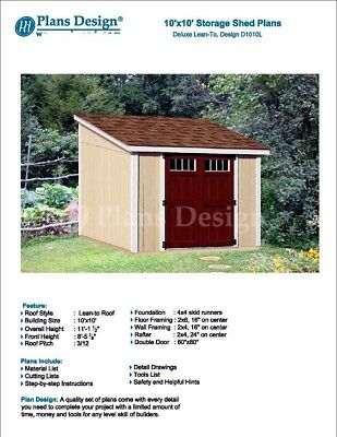 - 10' x 10' deluxe shed plans, lean to roof style design # D1010L, material list