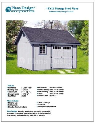 Shed Plans, Do It Yourself 12' x 12' Reverse Gable Roof Style Design # -