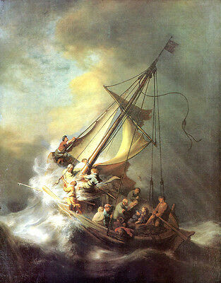 Christ in the Storm  by Rembrandt  Giclee Canvas Print Repro