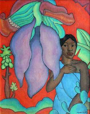 Girl with a Banana Leaf  by Arman Manookian   Giclee Canvas Print Repro (A Girls Fantasy)