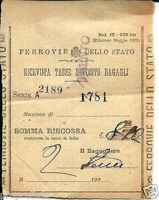 ww 52 1922 FERROVIE DELLO STATO Ricevuta deposito bagagli Biglietto - ticket