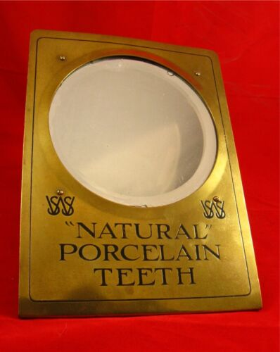 DENTAL PORCELAIN TEETH ADVERTISING MIRROR BRASS FRAME ORIGINAL VERY COLLECTIBLE