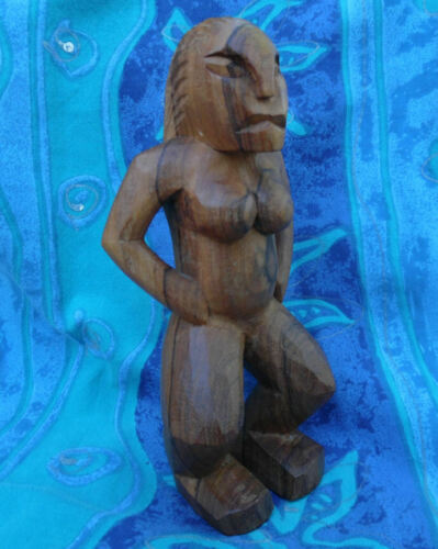 """TAHITIAN SOUTH PACIFIC CARVED WOOD NUDE Ti""""i FIGURE FRENCH POLYNESIA"""