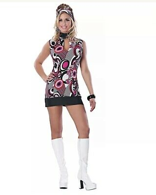 THAT GIRL Sexy Go Go Girl Groovy Sleeveless Mini Dress Retro 60s Costume S/M NEW (Go Go Girl Costume)