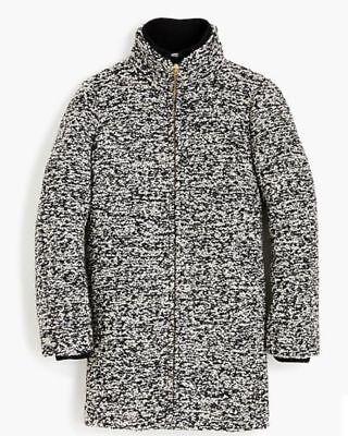 Bouclé Coat Petite (NWT J. Crew Petite lodge coat in speckled boucle ivory black )