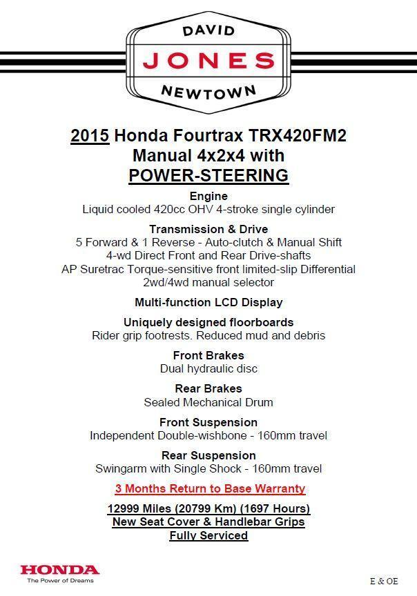 2015 HONDA TRX420 FM MANUAL P/S TEERING FOURTRAX 4x4 QUAD BIKE ATV FOUR WHEEL