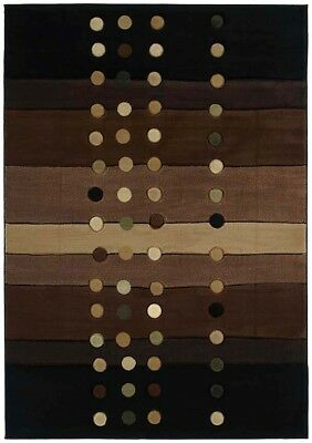 MODERN brown STRIPES 8x11 area rug DOTS circles CARPET : Actual Size -