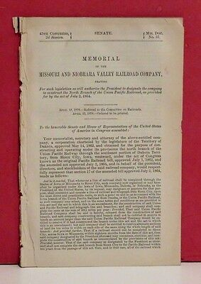 Senate Report - Construction of North Branch of Union Pacific Railroad -1878