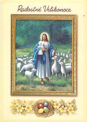 Radostne Velikonoce Jesus Holding Baby Ship Easter Eggs Flock   Postcard  # 6605 (Jesus Holding Baby)