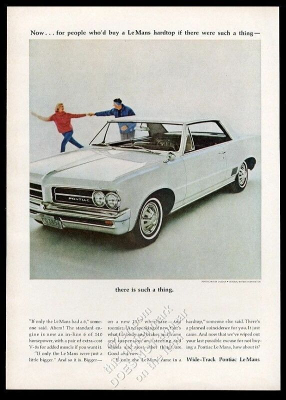 1964 Pontiac LeMans white car photo vintage print ad