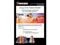 Energy Drinks Testers Wanted! [Get FREE Sample in Exchange for Your Honest Opinion... ]