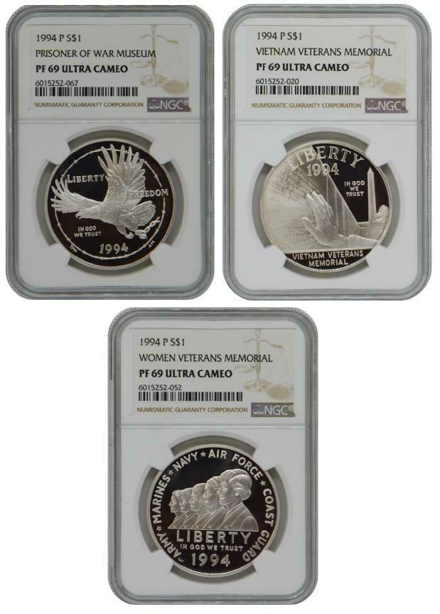 3 Coins Set 1994 Veterans Commemorative Proof Silver NGC PF69 Ultra Cameo - $90.90