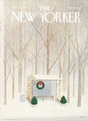 Cover Only The New Yorker Magazine December 10  1979   Martin   Bus Stop Wreath