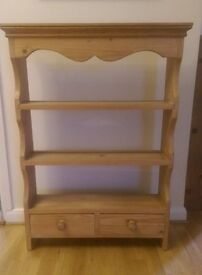 Solid Pine wall shelf unit with draws