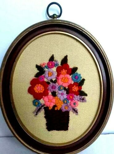 Vintage Crewel Embroidery Floral Bouquet Oval Framed 1970s  Completed Finished