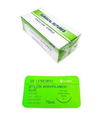 20 Training Surgical Sutures Nylon Monofilament With Needle 12 Pack Sterile