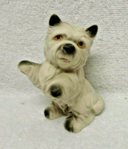 White Terrier Sitting Up White With Black Accents Figurine