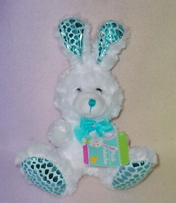 Big Bunny Ears (SHINY BLUE EARS  WHITE BUNNY ** BIG PINK NOSE ** 8 IN TALL** NEW ** SO CUTE)