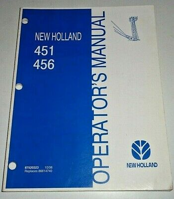 New Holland 451 456 Sickle Bar Mower Cutter Operators Owner Manual Nh 1006 Oem