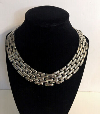 Vintage Givenchy Signed Wide Collar/Choker Silver Link Necklace