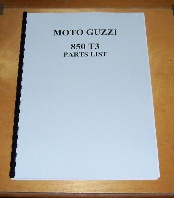 MOTO GUZZI 850 T3 PARTS LIST REPRINT
