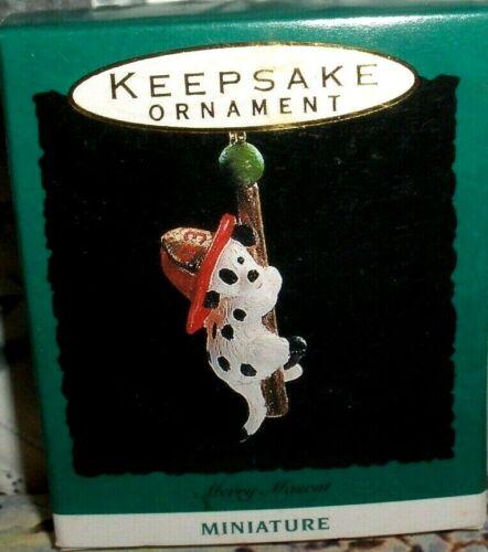 Merry Mascot`1993`Miniature-Rides The North Pole Fire Truck,Hallmark Ornament