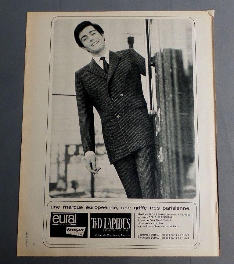 Pub publicite ancienne advert clipping 310817/ costumes ted lapidus eural tergal