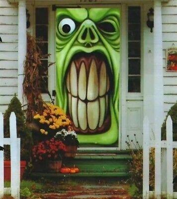 Green Goblin Monster Halloween Door Cover Trick r Treat Ghost - Halloween Door Covers