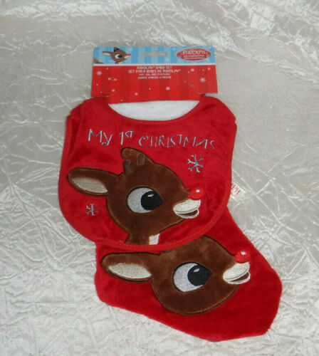 Rudolph the Red Nosed Reindeer Stocking & Bib Baby