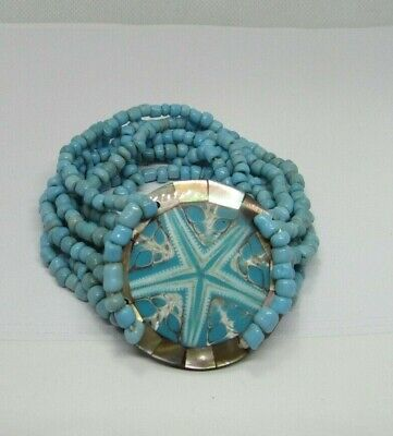 Mother of Pearl MOP Sea Shell Stretch Beaded Bracelet Turquoise Blue Starfish Mother Of Pearl Beaded Bracelets