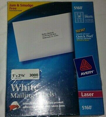 Avery Easy Peel Mailing Address Labels Laser 1 X 2 58 White 3000box