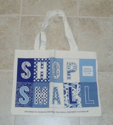 Express Shop (New SHOP SMALL BUSINESS SATURDAY Cream & Blue Flat Tote American Express)