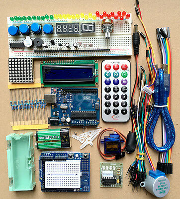 New Starter Kit Uno R3 1602 Lcd Step Motor Servo Breadboard Wire For Arduino