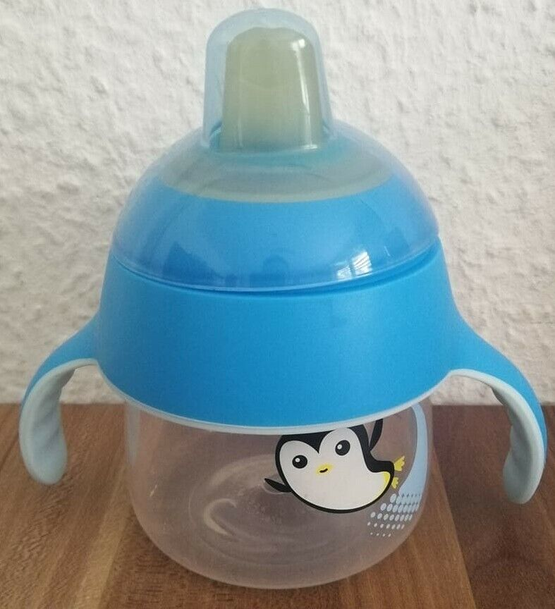 "Flasche Trinkbecher ""Pinguin"", Sip No Drip 200ml, ab 6 Monate, blau, 1 St"