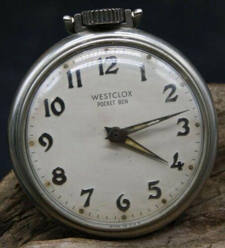 Vintage WESTCLOX POCKET BEN Pocket Watch Gothic Numerals 50.2mm MOD. 90002 (J2P)