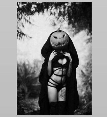 Halloween Pumpkins Photos (Vintage Creepy Sexy Tattoo Girl Halloween PHOTO Bikini Pumpkin Head Freak)