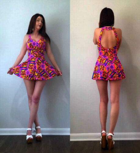 XS S Vtg 50s 60s Sexy BALI Psychedelic Geometric Print Bombshell Swimsuit Romper
