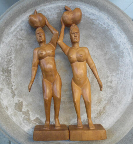 OCEANIC ART CARVED WOOD TRIBAL FEMALE NUDES WITH GOURDS PACIFIC ISLANDS, SIGNED