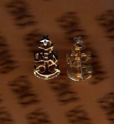 "USN NAVY SCPO Senior Chief Petty Officer E-8 rank badge collar pinback p/b 1"""
