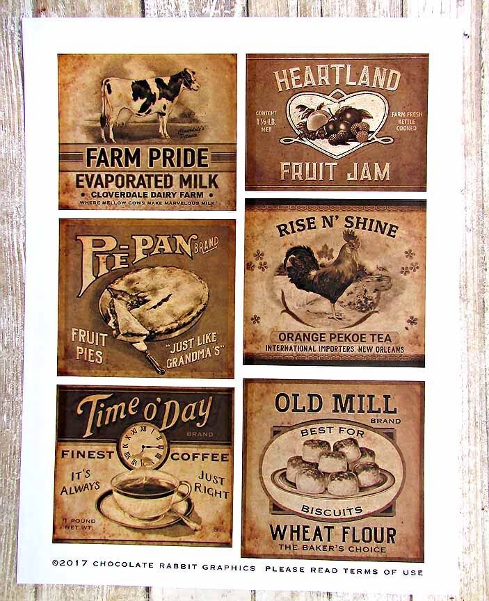 Primitive Country Farmhouse Pantry Labels, Uncut Sticker She