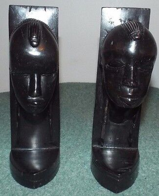 Vintage Hand Carved African Tribal Figures Ebony Wood Sculpture Bookends.