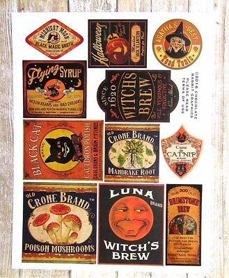 Vintage Style Halloween Potion Bottle Label Stickers Uncut Set of 11 Color