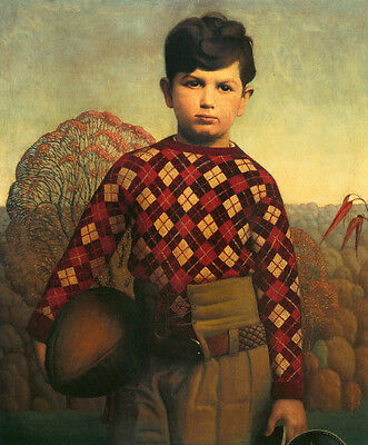 Giclee Print Wood Print - Plaid Sweater  by Grant Wood    Giclee Canvas Print Repro